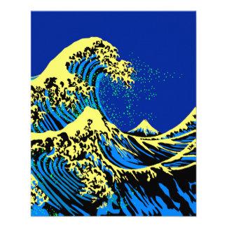 """La gran onda de Hokusai en estilo del arte pop Folleto 4.5"""" X 5.6"""""""