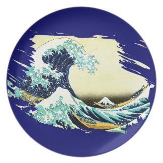 La gran onda de Kanagawa (神奈川沖浪裏) Platos Para Fiestas