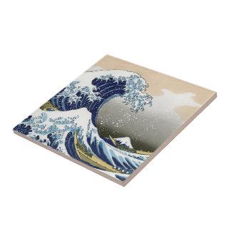 La gran onda de Kanagawa Azulejo Cuadrado Pequeño