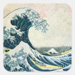 La gran onda de Kanagawa Calcomanias Cuadradas