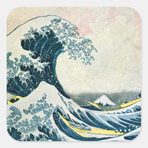 La gran onda de Kanagawa Calcomanías Cuadradas