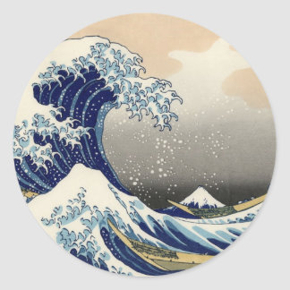 La gran onda de Kanagawa Etiqueta Redonda