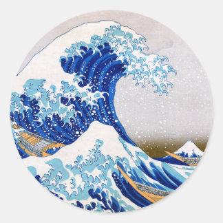 La gran onda de Kanagawa, Hokusai Pegatina Redonda