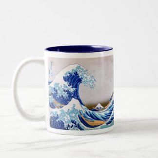 La gran onda de Kanagawa, Hokusai Taza Dos Tonos