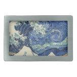 La gran onda de Kanagawa - la noche estrellada Hebilla Cinturón Rectangular