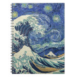 La gran onda de Kanagawa - la noche estrellada Spiral Notebooks