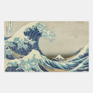 La gran onda de Kanagawa Pegatina Rectangular