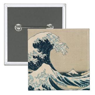 La gran onda de Kanagawa Pin Cuadrado