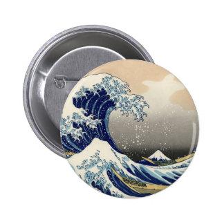 La gran onda de Kanagawa Pin Redondo 5 Cm