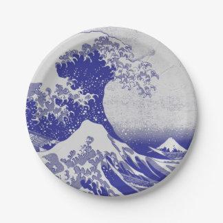 La gran onda de Kanagawa Plato De Papel De 7 Pulgadas