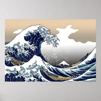 La gran onda de Kanagawa - poster japonés del arte