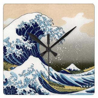 La gran onda de Kanagawa Reloj Cuadrado