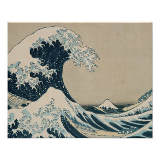 La gran onda de Kanagawa, vistas del monte Fuji Poster