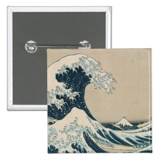 La gran onda de Kanagawa, vistas del monte Fuji Pin Cuadrado