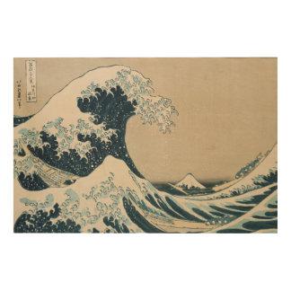 La gran onda de Kanagawa, vistas del monte Fuji Impresión En Madera
