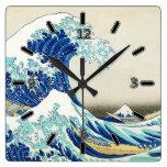 La gran onda de la orilla de Kanagawa (con números Relojes