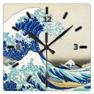 La gran onda de la orilla de Kanagawa (con números Reloj Cuadrado
