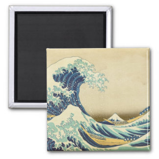 La gran onda de la orilla de Kanagawa Imán Cuadrado
