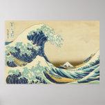 La gran onda de la orilla del poster de Kanagawa