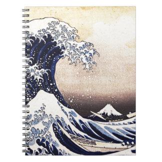 La gran onda del arte del japonés del vintage de libreta espiral