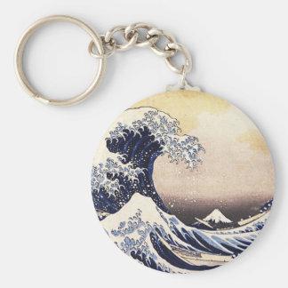 La gran onda del arte del japonés del vintage de llavero redondo tipo chapa
