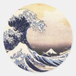 La gran onda del arte del japonés del vintage de pegatina redonda