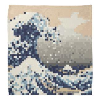 La gran onda del arte del pixel del pedazo de bandanas