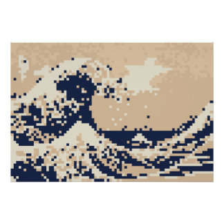 La gran onda del arte del pixel del pedazo de Kana Poster