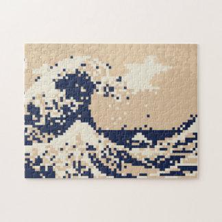 La gran onda del arte del pixel del pedazo de Kana Puzzle