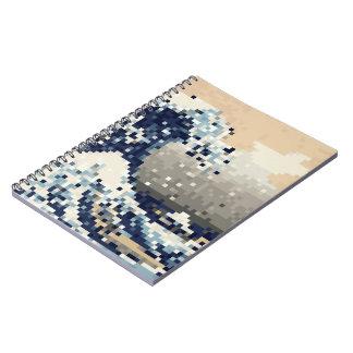 La gran onda del arte del pixel del pedazo de libretas espirales