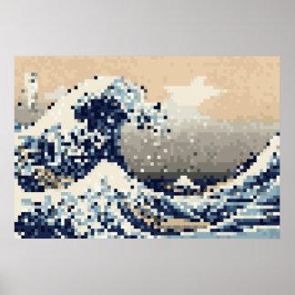 La gran onda del arte del pixel del pedazo de póster