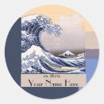 La gran onda del Bookplate de Kanagawa