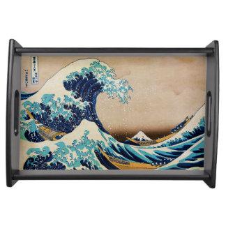 La gran onda del japonés de Hokusai Bandeja