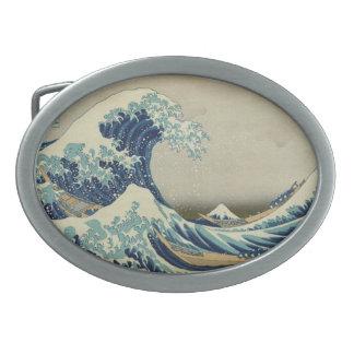 La gran onda hebilla de cinturón oval