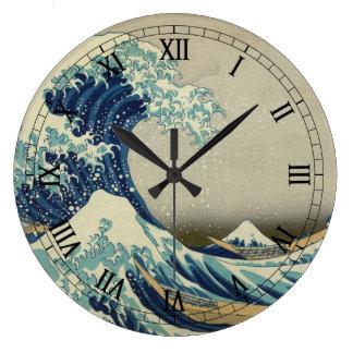 La gran onda por Hokusai arte del japonés del vin Reloj De Pared