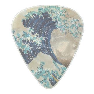La gran onda por Hokusai Plectro De Celuloide Nacar
