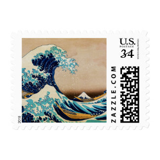 La gran onda por los sellos japoneses de Hokusai