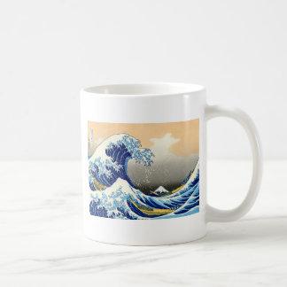 La gran onda taza básica blanca
