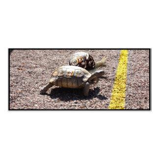La gran raza de la tortuga y del caracol diseño de tarjeta publicitaria