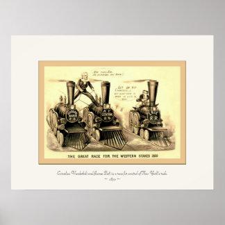 La gran raza para el ~ occidental 1870 de las part póster