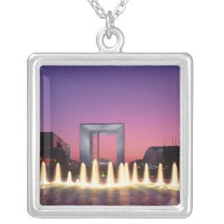 La Grande Arche, La Defense, Paris, France Silver Plated Necklace