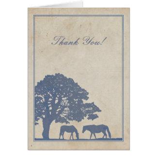 La granja azul y de marfil del caballo del vintage tarjeta pequeña