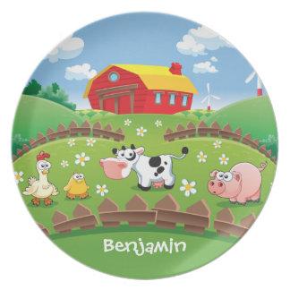 La granja del corral embroma la placa plato de comida