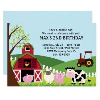 """La granja embroma cumpleaños invitación 5"""" x 7"""""""