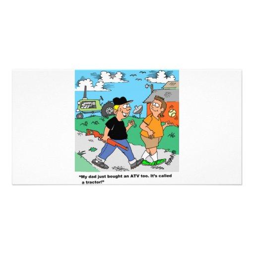 La granja embroma el dibujo animado de ATV /Tracto Tarjeta Fotografica