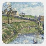 La granja en Osny, 1883 Pegatinas Cuadradases