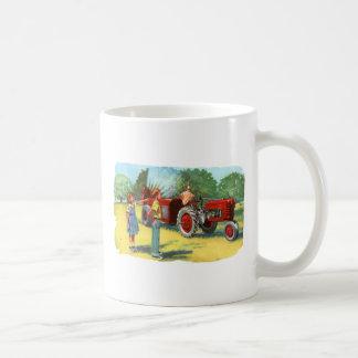 La granja retra del kitsch 50s del vintage embroma taza de café