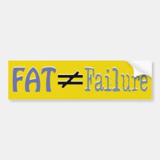 La grasa no iguala el fracaso - pegatina para el p pegatina de parachoque