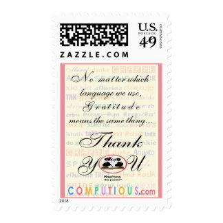 La gratitud significa igual en cualquier lengua estampilla