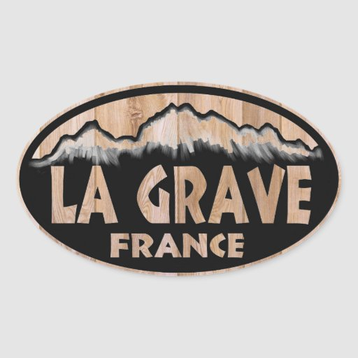 La Grave France wooden oval stickers